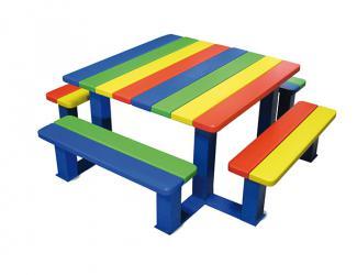 table banquettes arc en ciel - maternelle - multicolore