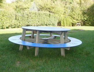 table banquette ronde saturne - 6 pl - p naturels - a poser