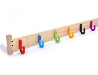 patères protect sur lisse bois - 6 crochets simples