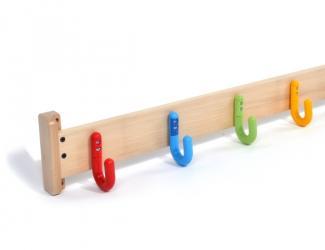 patères protect sur lisse bois - 4 crochets simples