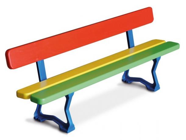 banc arc en ciel minot - 3 lames - maternelle - multicolore