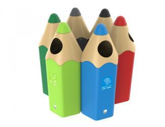 corbeille de tri selectif crayon