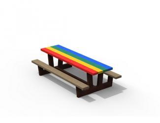 table pique nique kids gp71m-180 multicolore en plastique recycle