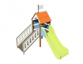 structure fripounette baby glisse - orange/bleu poteaux bois - 18 mois/7 ans