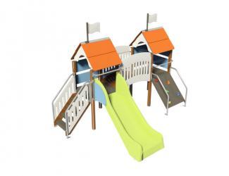 structure fripounette mini pont - orange/bleu poteaux bois - 18 mois / 7 ans