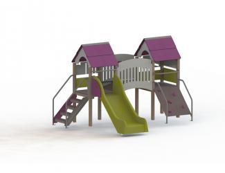structure fripounette mini pont - gris/prune poteaux bois - 18 mois / 7 ans