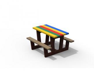 table pique nique junior gp72m-120 multicolore en plastique recycle