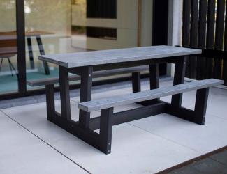 table pique nique ado gp73gs-180 gris noir en plastique recycle