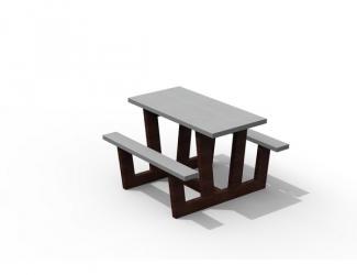 table pique nique ado gp73gs-120 gris noir en plastique recycle