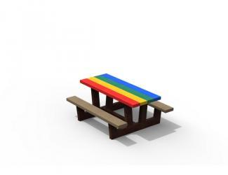 table pique nique kids gp71m-120 multicolore en plastique recycle