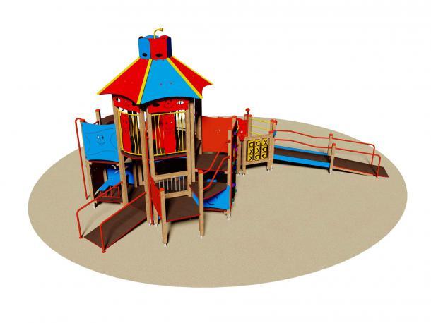 """structure de jeu """"fun city"""" accessible a tous - pmr - 2/12 ans"""