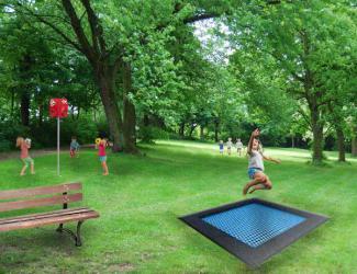 trampoline coloree 150 carre