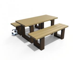 table pique nique escapade mini avec assises independantes - plastique recycle