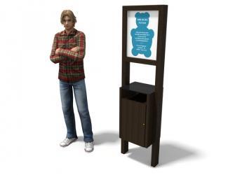 panneau d'information + corbeille rectangle - plastique recyclé