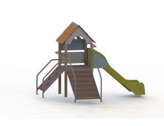 structure fripounette baby grimpe - orange/bleu poteaux bois - 18 mois/7 ans