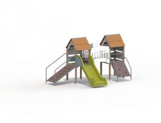 structure fripounette baby pont - orange/bleu poteaux bois - 18 mois/7 ans