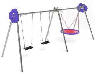 balancoire combine pmr - acier - 3/12 ans